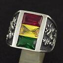 シルバー アクセサリー シルバーリング シルバー925 ラスタカラー メンズ 赤色 黄色 緑色 プレゼント 指輪 シンセティックストーン レゲエ ライオン ジャマイカ