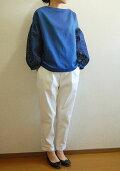 【new】4スタイルプルオーバー型紙使用ボリュームタック袖トップスインディゴツイルガーゼ+インディゴ60ローン刺しゅう・スクエアキット