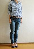 【new】前あきオーバーサイズシャツ型紙使用(着丈アレンジデザイン)カフス付き長袖シャツロンドンストライプ(タイプライター)キット