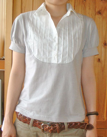 Shirt collar T shirt pattern