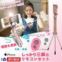 LEDライト付 セルカ棒 ミラー付【 三脚・リモコンセット】 【 Bluetooth&有線シャッター...