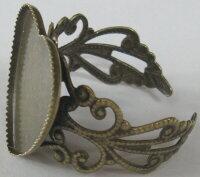 【銅製・高品質】カボション・レジン台座指輪(ハート型)F-565-4