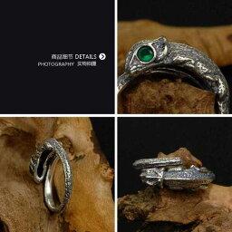 【送料無料】 指輪 リング メンズ レディース シルバープレート 古代 動物 アニマル トカゲ バイカー 緑 グリーン 金属 パンク ロック アイ アンティーク メタル ごつい 23号 25号 シルバー 眼 かっこいい