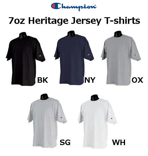 チャンピオン 7オンス ヘリテージジャージーTシャツ【Champion Heritage Jersey T-Shirts】2102(袖にロゴ入り)【厚手無地半袖メンズ】【0531】
