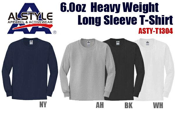 ALSTYLE(アルスタイル)6.0oz ヘヴィウェイト ロングスリーブ Tシャツ【1304】AAA・長袖・ネックリブシングルステッチ【無地長そでメンズ】ベーシック【0407】