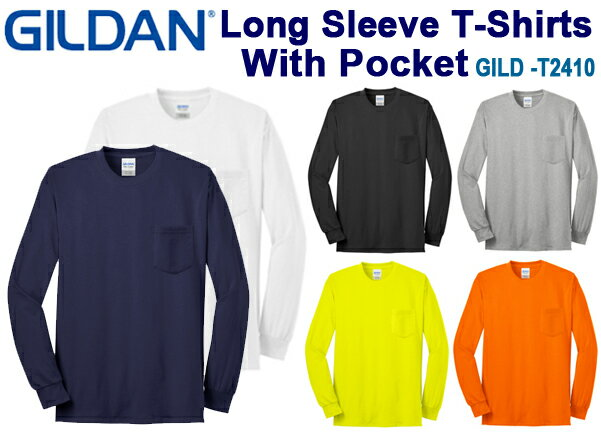 ポケット付きロングスリーブTシャツ GILDAN(ギルダン)6.0oz 【ウルトラコットン】(無地ロンT・長袖・アダルトサイズ・メンズ)2410【0424】