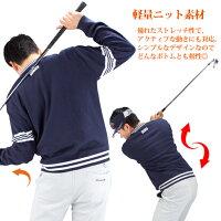 ゴルフウェアメンズVネックセーター防風