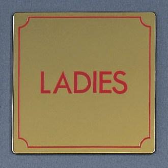 光 サインプレート 『LADIES』 LG1112-2 110mm×110mm×1mm 真鍮金色メッキ 腐食エッチングテープ付