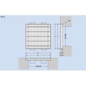 カネソウスチール製グレーチングT25-HSC-3350(本体のみ)※受枠別売り400×395×50プレーンタイプ正方形型集水桝用