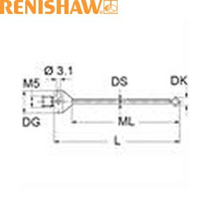 レニショー A-5555-1095 スタイラス ツァイス製プローブ用スタイラス ストレート M5 φ0.6mm ルビー球 超硬軸 長さ32mm ML12mm ツァイスアプリケーション用 ツァイスパーツNo:000000-1120-407に相当
