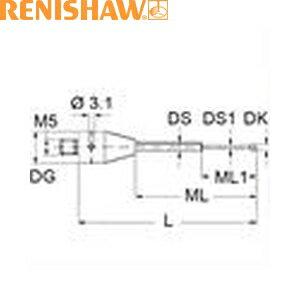レニショー A-5555-3780 スタイラス ツァイス製プローブ用スタイラス ストレート M5 φ1.5mm 窒化珪素球 超硬軸 長さ30mm ML8.0/20.0mm ツァイスアプリケーション用