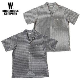WAREHOUSEウエアハウスシャツLot3091S/SOPENCOLLARSHIRTSギンガムチェック(小)ストライプ(細)オープンカラーシャツメンズ半袖