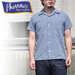 PHERROW'Sフェローズ17S-PIS1ギンガムチェックオープンカラーシャツ