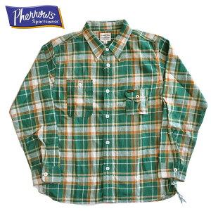 Pherrow'sフェローズシャツ20W-750WS-Cライトネルワークシャツ緑チェックS-Lメンズアメカジ