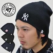 47Brand47ブランドニット帽NewYorkYankeesBEANIE帽子ニットキャップビーニーBIN17ACEあす楽対応