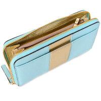 ケイトスペード財布katespadeコーティングレザーストライプジップアラウンド長財布シーブルー×ゴールド4529