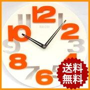 掛け時計 ホワイト シンプル デザイン オレンジ おしゃれ ウォール クロック インテリア プレゼント