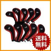アイアンカバー 10個セット ファスナー タイプ 刺繍 ブラック ゴルフ クラブ アイアン カバー ヘッドカバー トップカバー ゴルフクラブ セット アイアン用 番手 黒 スポーツ