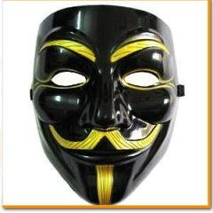 【着後レビューで送料無料】 V for Vendetta Mask Vフォー・ヴェンデッタマスク アノニマス ガイ・フォークス マスク ブラック&ゴールド VIP版 仮面 黒 お面 コスプレ ダンス 衣装 ヒップホップ パーティー ハロウィン 舞台