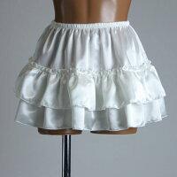 透けない超ミニ2段ふりふりペチスカートオフホワイト