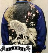 satori/さとり|月に白狼刺繍スカジャンGSJR-025