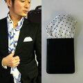 フィックスポンパッフド2【ホワイト】【ブラック水玉・ドット】fixponポケットチーフ