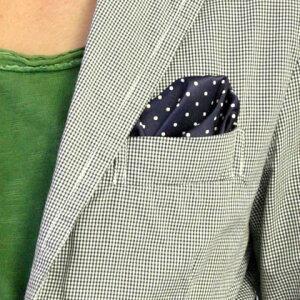 フィックスポンパッフド2【ブルー(ネイビー)(紺・コン)】【ホワイト水玉・ドット】fixponポケットチーフ