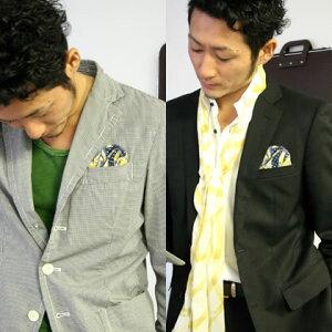フィックスポンパッフド2イエロー【柄あり】fixponポケットチーフ