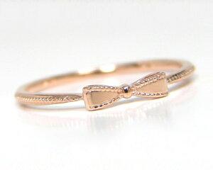 小指に結んだ、約束リング・・!【Tiny Pinky】K10PG・リボンデザイン・ピンキーリング【楽ギフ_...
