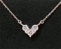 K10PG・ダイヤモンド・ハートモチーフネックレス