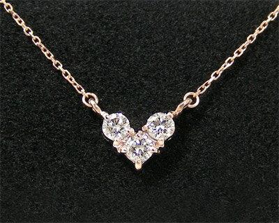 K10PG ダイヤモンド ハートモチーフネックレス 【プレゼント/...