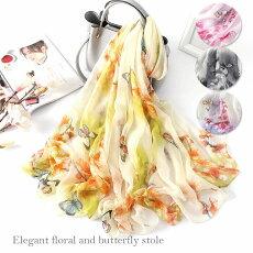 エレガントな花と蝶柄の大判ストール