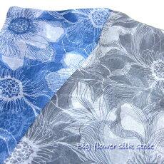透ける薄さの大きな花柄シルクストール