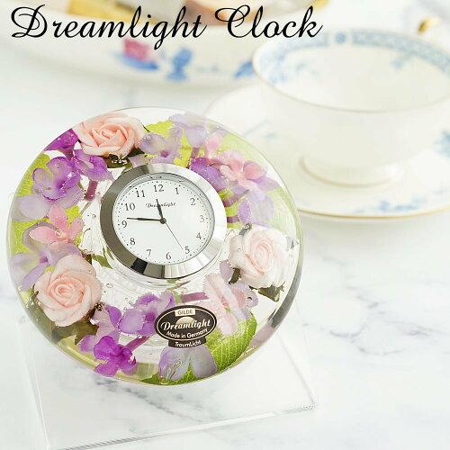 置き時計 おしゃれ 花時計 母の日 かわいい 小さい ドリームライト ハーバリウム ギフト プレゼント 人気 還暦 古希...
