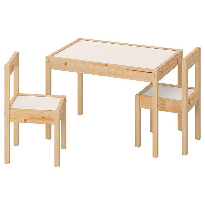 IKEA イケア LATT レット 子供用 机 椅子 セット おしゃれ 北欧 かわいい パイン ホワイト 白 勉強机 学習机 おすすめ シンプル キッズ 木製 子ども用テーブル チェア2脚付 ホワイト/パイン材
