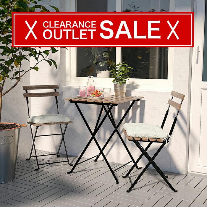 【IKEA/イケア】 TARNO テルノー  折りたたみ ガーデン テーブル チェア セット 屋外用 外用 アカシア材/ブラック ※クッション別売り ガーデンチェア ガーデンテーブル コンパクト シンプル かわいい