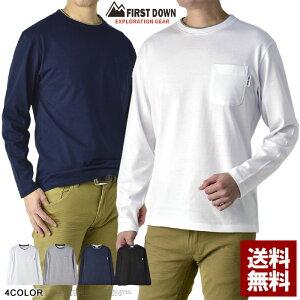 FIRSTDOWN ファーストダウン ロンT メンズ 長袖 Tシャツ クルーネック 無地 胸ポケット ダブルネック カットソー トップス【A8E】【パケ2】