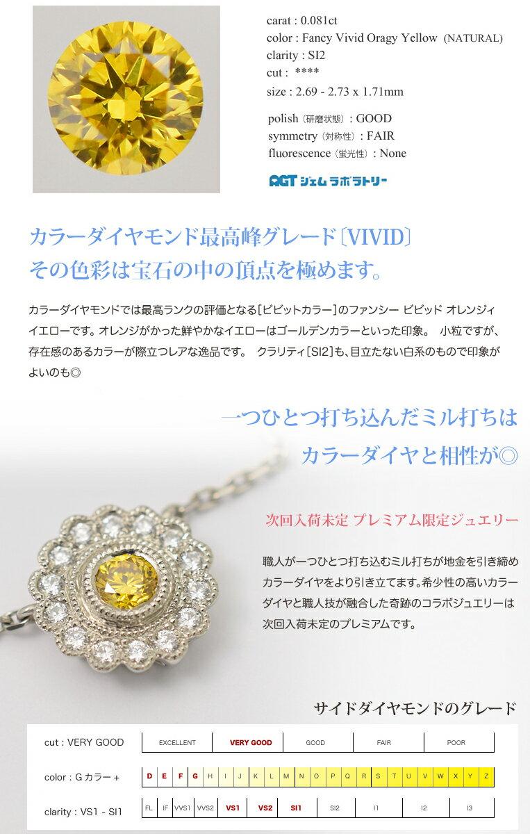 プラチナ ダイヤモンド 0.15ct ネックレス[0.081ct Fancy Vivid Orangy Yellow SI2][Palette]限定プレミアムシリーズFLAGS フラッグス ファンシービビッド イエローダイヤモンド ネックレス【オプション価格は税別価格です】