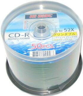 HIDISC CD-R 700MB 50枚スピンドル 52倍速 プリンタブル CD-R80 52X PW50PS_Outlet