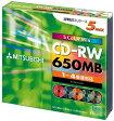 【訳あり☆パッケージ破損】三菱化学メディア 1-4倍速対応650MB CD-RW 5枚パック SW74QM5