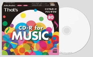 国産の高品質録音用CD-R「The日本製」CD-R 10枚入り太陽誘電 CDRA80WWY10ST トリプルガード 白...