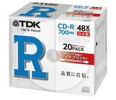 【日本製】TDK データ用CD-R 48倍速 20枚 5mmスリムケース入り ホワイトワイドプリンタブル CD-R80PWDX20B