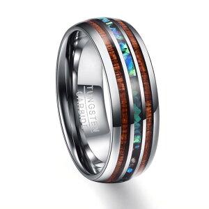 指輪 ハワイアンジュエリー メンズ コアウッド リング 天然ウッド使用 タングステンカーバイト ハンドポリッシュド ギフト 贈り物 誕生日 結婚指輪 レディース