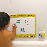 正規品おふろ用キットパス3色&おえかきシート国旗+ABCKitpas(キットパス)お風呂おもちゃお絵かき