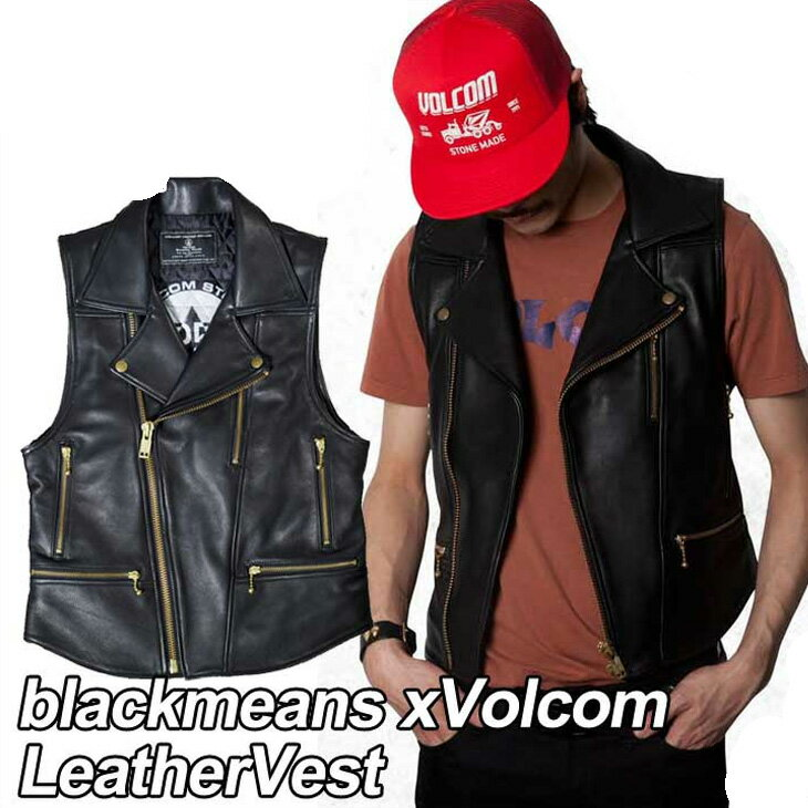 トップス, ベスト・ジレ volcom blackmeans xVolcom LeatherVest VOLCOM OUTLET ship1
