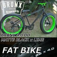 ファットバイクブロンクスFATBIKEBRONX【BRONX4.0DD/MATTEBLACKxLIME】7段切り替えディスクブレーキ26インチ【日本正規販売品】自転車