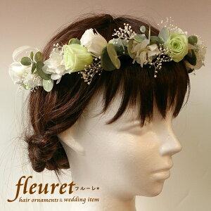 f9315fa9b5cac プリザーブドフラワーの花を使った花冠(髪飾り・ヘッドドレス)結婚式におすすめ ガーデンウエディング・ナチュラルウェディングにも バラとユーカリの花冠   ...