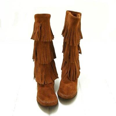 **ミネトンカ MINNETONKA モカシン**(#1632)Women's 3-Layer Fringe Boot3段...