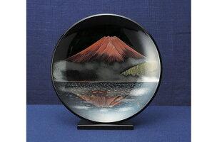 越前塗飾皿写し赤富士皿立台付