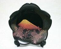 飾皿富士桜皿立付